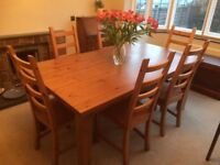 Ikea Forsby antique pine large wooden dining table & 6 wooden chairs