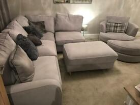 Grey Fabric Sofa - L-Shaped Corner with Swivel Chair & Poofs
