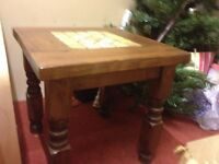Unusual solid wood lamp table