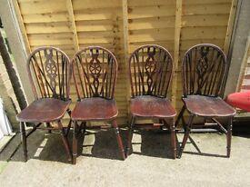 Vintage Wheelback Chairs – Set of 4
