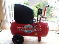 Ranger 6/500 50 litre air compressor with air hose and nail gun