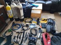 Loads of diving equipment. Regulators 1st & 2nd stage, Cylinders, Gloves, thermals, Dive Computers,