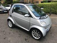 Silver Smart -city cabriolet 0.7l semi-auto, leather interior.