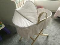 Clair De Lune Broderie Anglaise Moses Basket, Coverlet, Mattress and Folding Stand.