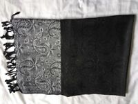 Shawl - Black with silvery border at both ends