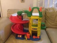 Fisher price little people garage and box of cars
