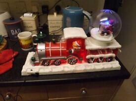 christmas light up singing train