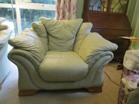 large comfy mint green leather armchair very good condition