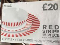 Red stripe 12 piece dinnerware