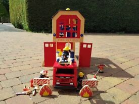 Wooden Fire Station and Engine