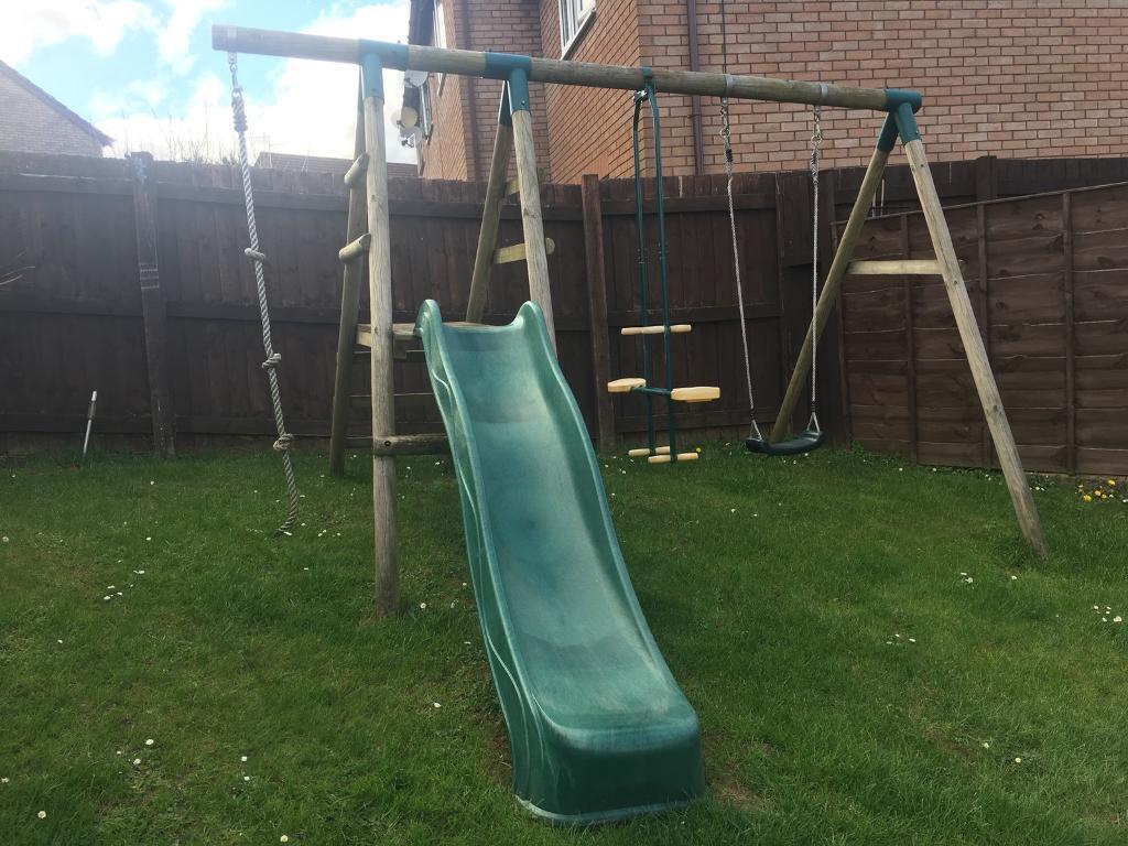 Plum Meerkat Wooden Garden Swing Set And Climbing Frame - Swing ...