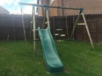 Plum Meerkat Wooden Garden Swing Set And Climbing Frame - Swing/Slide/Glider/climbing frame