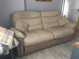 3 and 2 seater reclining sofas with stool