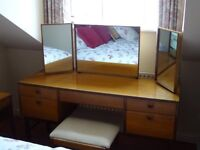 Mid century dressing table with mirrors and stool