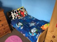 COT BED + MATTRESS + BEDDING AND MORE