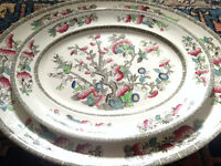 2 Vintage/Antique Serving Platters/Dishes Johnson Bros., Indian Tree Pattern