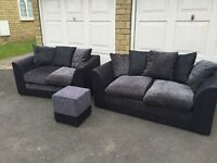 3 piece Suite - 3 seater, 2 seater and stool