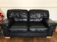 Black leather Sofa settee