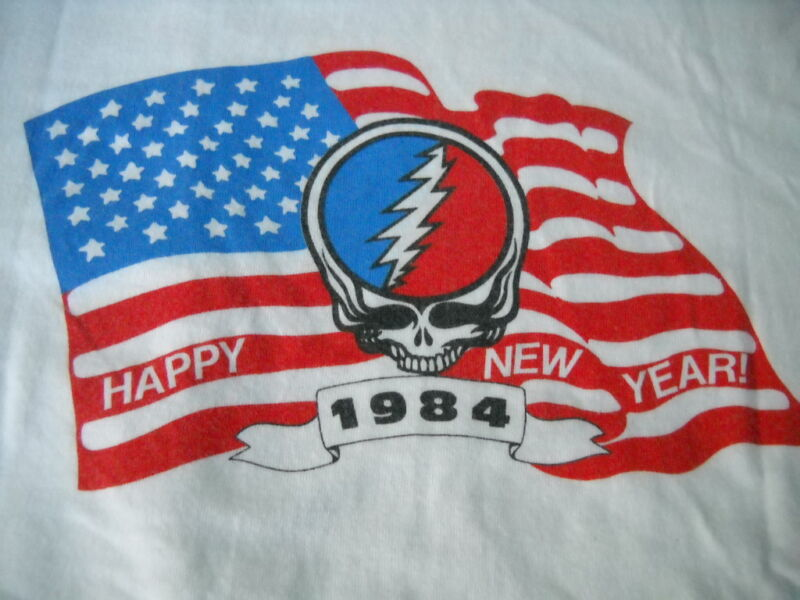 GRATEFUL DEAD NEW YEARS EVE CONCERT 1984 STEAL YOUR FACE FLAG T-SHIRT-S-NEW-RARE