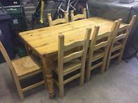 Dyvels solid reclaimed pine table with 6 chairs