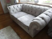 Two Next Gosford chesterfield sofa/settee/couch in silver velour. 6 months old. Cost £1150 each