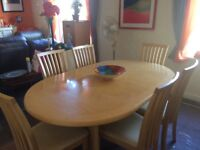 Maskreys Large Dining Table & Six Chairs