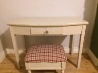 Small table and footstool/ottoman - used as childs desk