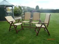 4 Quality Hardwood Garden Recliner Chairs