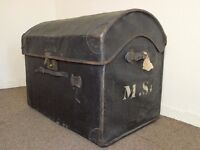 DOME TOP ANTIQUE VICTORIAN STORAGE STEAMER CHEST TRUNK FREE DELIVERY EDINBURGH GLASGOW TAYSIDE FIFE