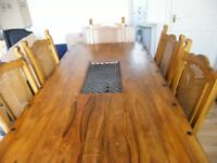 spanish oak table & 6 chairs