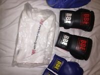 2 pairs of boxing gloves, 2 pairs of sparring gloves, bottle (new), towel (new)