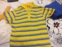 Yellow striped large size polo shirt men's