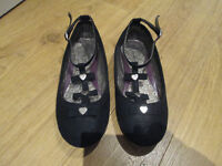 GIRLS BLACK PARTY SHOES WITH ANKLE STRAP - SIZE 13 - FROM GEORGE - GC