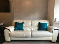 Leather 3 seater+footstool