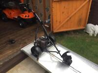 HILLBILLY ELECTRIC GOLF TROLLEY -EXCELLENT WORKING ORDER- COMES WITH BATTERY & CHARGER