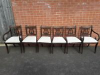 George III style oval folding dinning table with 6 chairs