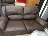 2&3 seater brown leather sofas