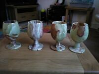Set of onyx Marble wine glasses