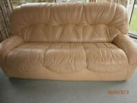 3 Piece leather Suite - 3 seater sofa and two single arm chairs. Good condition