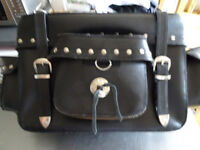 Harley style black leather and chrome cissy bar bag with pockets - almost new