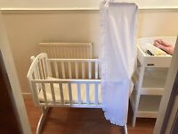 OBaby White Swinging Crib & Claire De Lune Bedding.