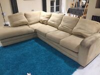 Corner sofa, armchair and puff for sale! £150ono! Used condition! 8 years old and tired in places!