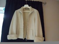 Lovely Cream Winter White Jane Norman Jacket. Suede effect with Fur. Size 12. Light weight.