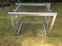TV stand - 3 shelves - Silver & glass