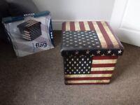 Retro USA American Flag Collapsible Folding Storage