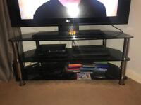 Large black glass TV stand for sale