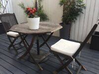 FOR SALE Garden table, x4 chairs & parasol