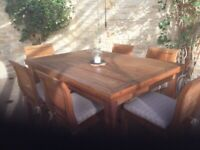Reclaimed teak table and chairs suitable for conservatory or garden