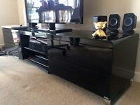 Load TV unit with drawers black gloss shiny modern Dwell Glasgow