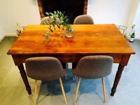 Reclaimed Solid Walnut Table & 4 wooden chairs